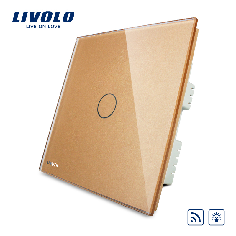 Livolo, Remote Switch,AC 220-250V  VL-C301DR-63,Golden Crystal Glass Panel, Wall Light Wireless Remote Dimmer Switch цена 2017