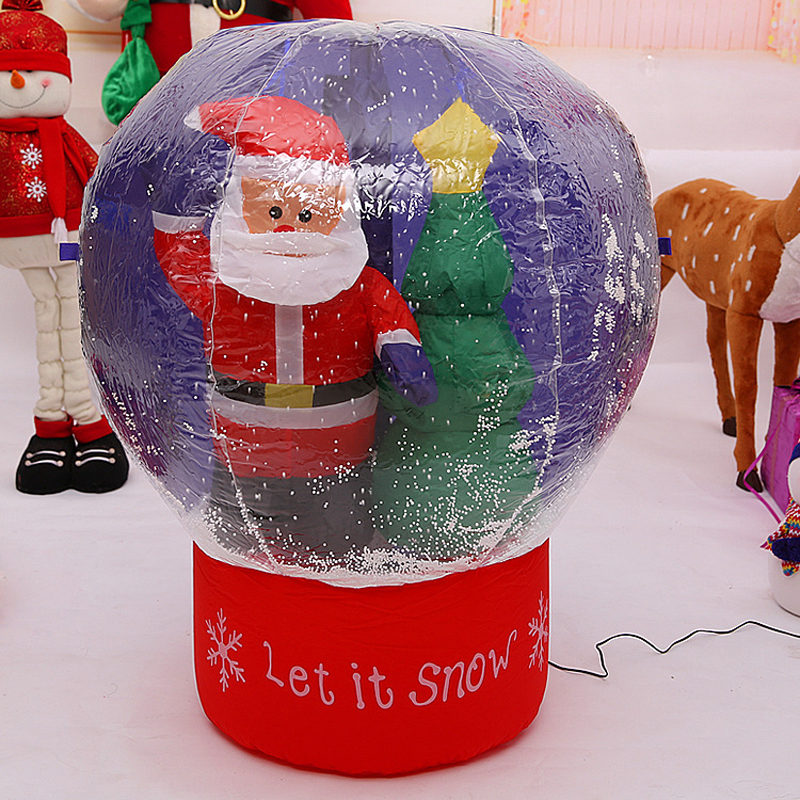 60cm/100cm Giant Santa Claus Christmas Tree Snow Globe Inflatable LED Toys Yard Outdoor Blow Up Decoration Christmas Party Prop