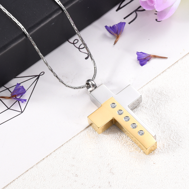 Men's Jewelry Silver and Gold Stylish Cross  Urn Necklace  Crystal Inlay Memorial Jewelry for Ashes Cremation Urns Free engrave