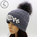 GZHILOVINGL Flower Women's Hats With Pom-pom Winter Thick Knitted Hats Big Rhinestone Warm Wool Cross Striped Cap Gorros 61122