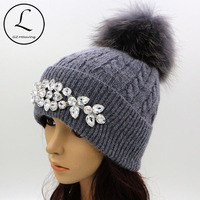 GZHILOVINGL Flower Women S Hats With Pom Pom Winter Thick Knitted Hats Big Rhinestone Warm Wool