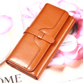 2017 oil waxing cowhide wallet for women Long designer drew-string wallet holder women leather genuine purse free shipping