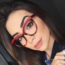 2019 Spectacle frame Black Cat Eye Glasses Frame Women brand Clear Lens Eyewear frames Ladies Myopia Nerd Red eyeglasses