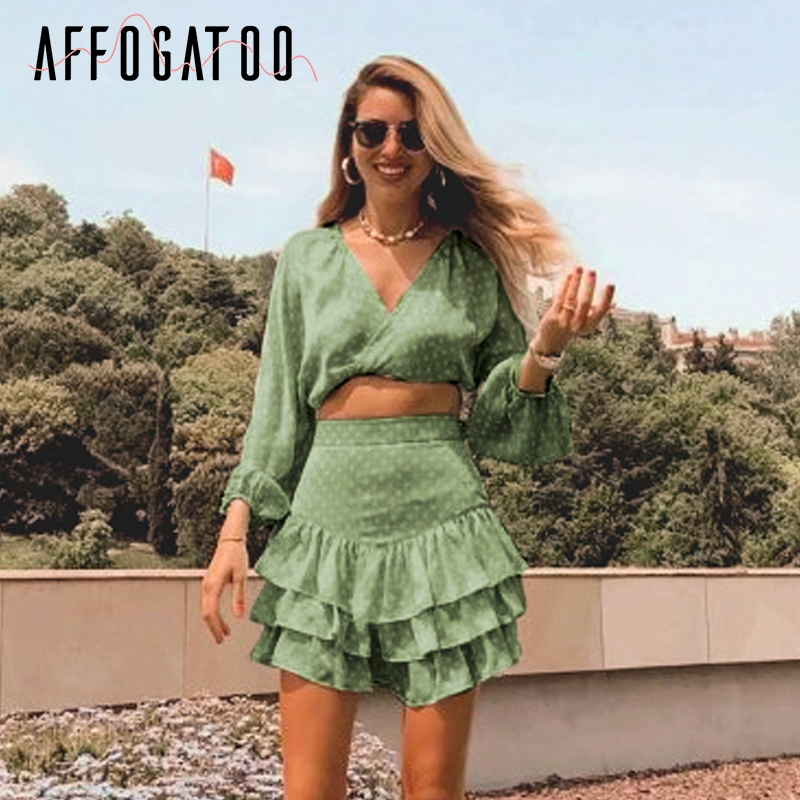 Affogatoo Sexy v neck polka dot print chiffon Summer   blouse     shirt   women Elegant ruffle casual skirt two-piece suits co-ordinates