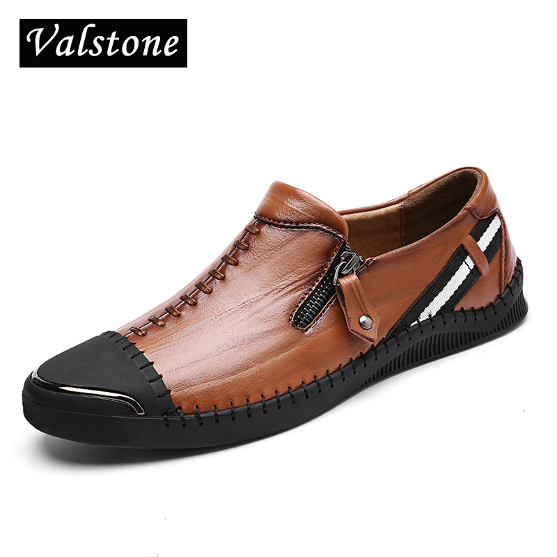 Valstone Genuine Leather Casual Shoes Men handmade vintage shoes zipper Hot Sale Moccasins loafers chaussure homme daily outdoor men shoes genuine leather summer casual shoes breathable soft driving men s handmade chaussure homme loafers cut out boat shoes