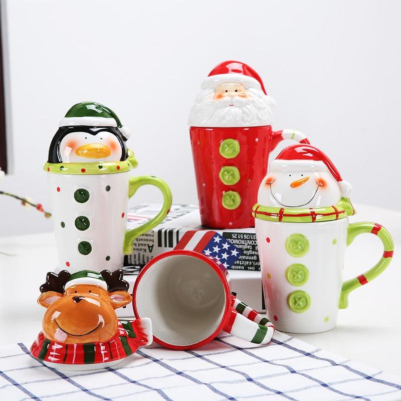 Cute Christmas Cups Ceramic Tea Mugs Santa Water Cup with Lid Coffee Milk Mug Creative Cartoon Breakfast Cup Child Xmas Gifts