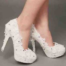 2016 Luxury Handmade White Pearl  crystal Rhinestone Bridal Shoes Lady High Heel Formal Dress Shoes Honeymoon Shoes