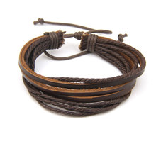 Trendy Multilayer Genuine Leather Charm Bracelet For Men Surfer Tribal Wrap Cuff Bracelet Black Bronze Wristband Pulseras Hombre(China)