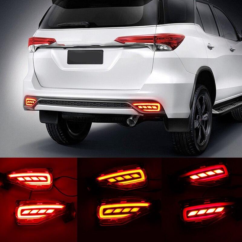 Okeen 2 pcs car led tail  Rear Bumper Reflector Light tail brake stop light Warning Light for 2015-2017 Toyota fortuner