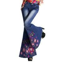 Новый Демисезонный в этническом стиле вышитые джинсы тонкий женский негабаритных стрейч большие размеры свободные штаны
