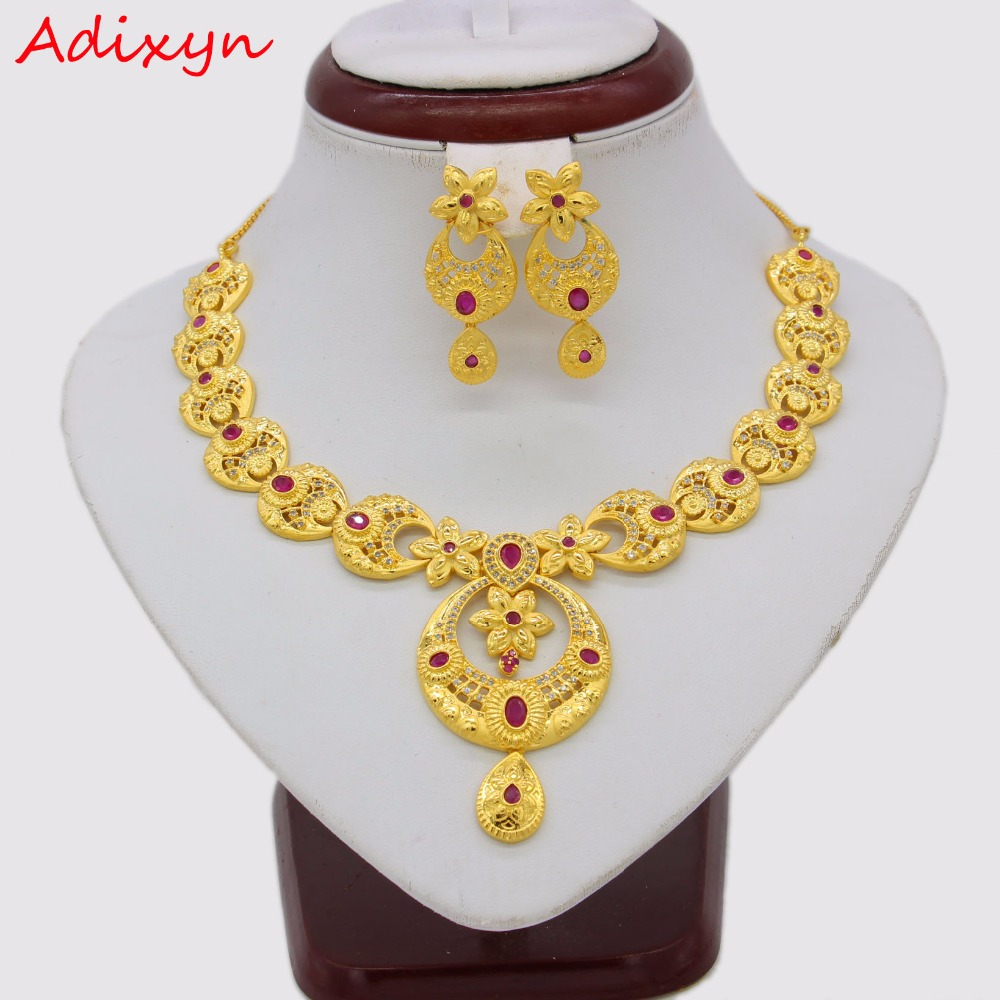 Adixyn Red Corundum Flowers Necklace/ Drop Earrings Jewelry Set Gold Color Cubic Zirconia African Women Anniversary Gifts