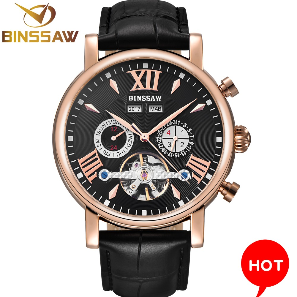 BINSSAW Men Watch Top Luxury Brand Automatic Mechanical Moon Phase Leather Fashion Business Self Black Watches