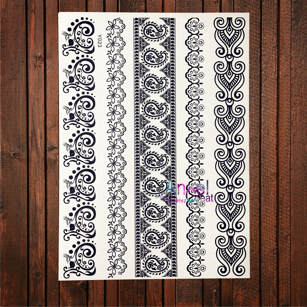 Skillful Knitting And Elegant Design Beauty & Health Sexy Bracelets Waterproof Tattoo Stickers For Women Makeup Tips Aby023 Children Fake Flash Black Temporary Tattoo Girls To Be Renowned Both At Home And Abroad For Exquisite Workmanship