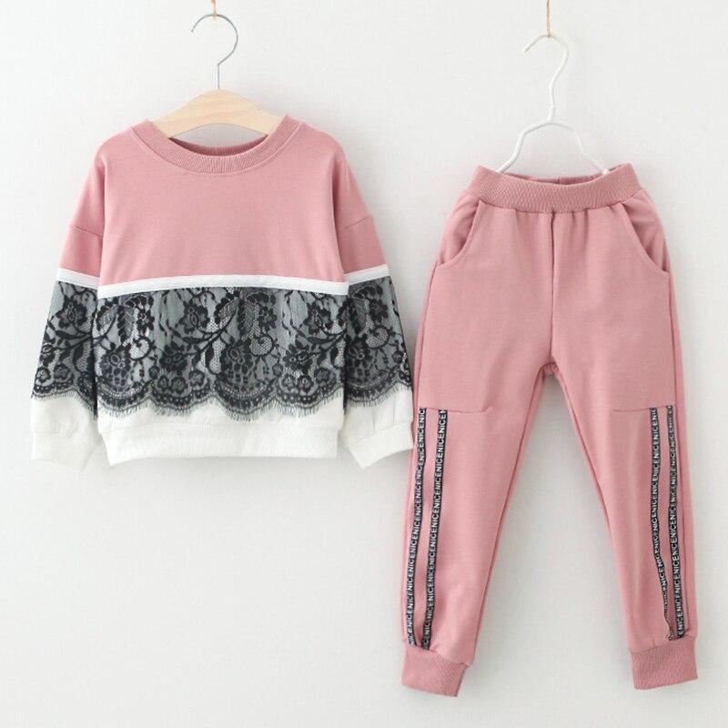 La ropa de los niños trajes de otoño niñas deportes conjuntos de ropa de 2 piezas de diseño de encaje ropa y pantalones de Color sólido ropa establece niños de invierno