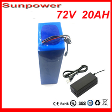 High Power 72V 20AH  Electric bike Lithium Ion Battery with bms+Charger  72V 2000W Electric Bicycle battery For Samsung cell