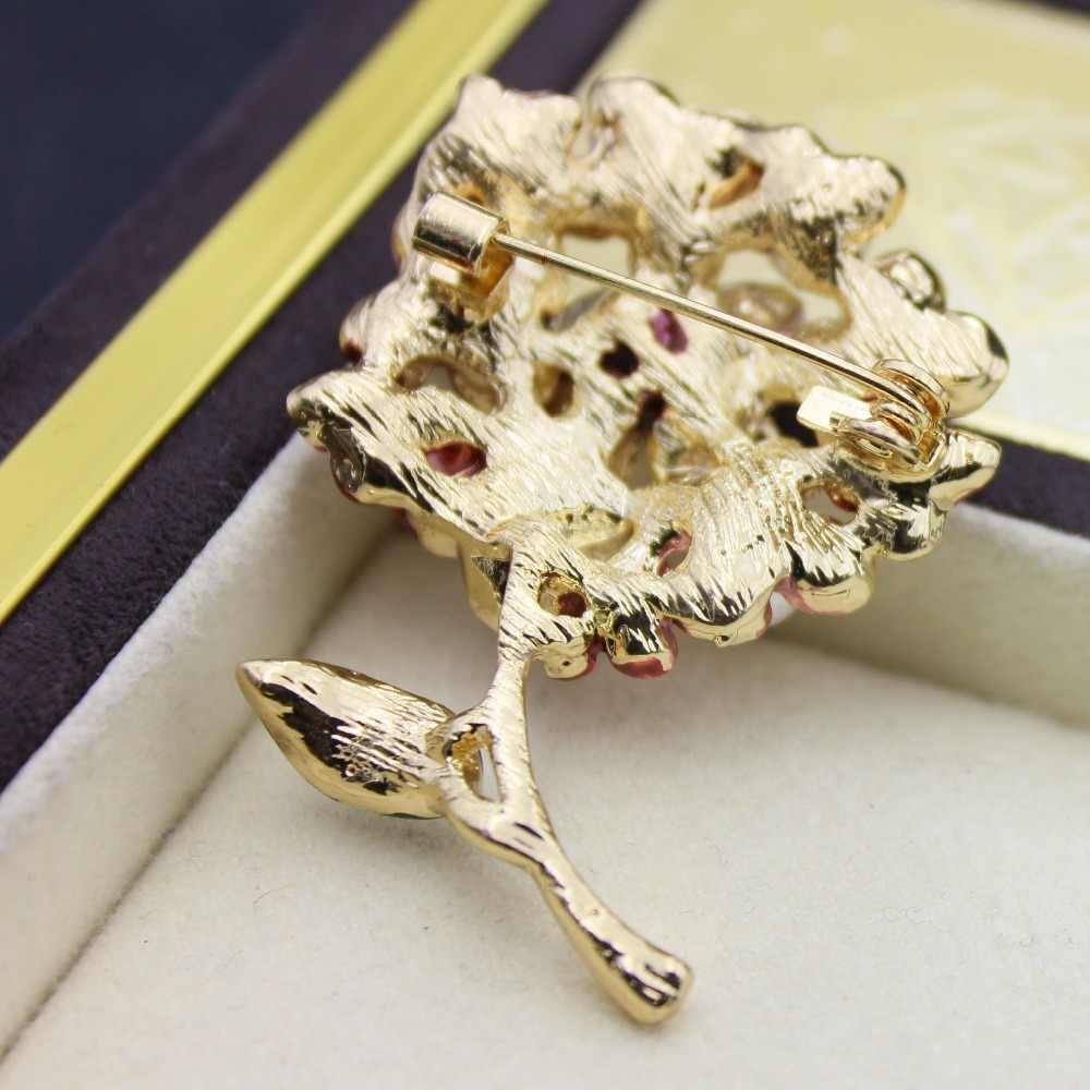 Bunga Bros untuk Wanita Aksesoris Hadiah Enamel Mekar Rose Bros Enamel Bros Kerah Pin Merah Vintage Karl Perhiasan