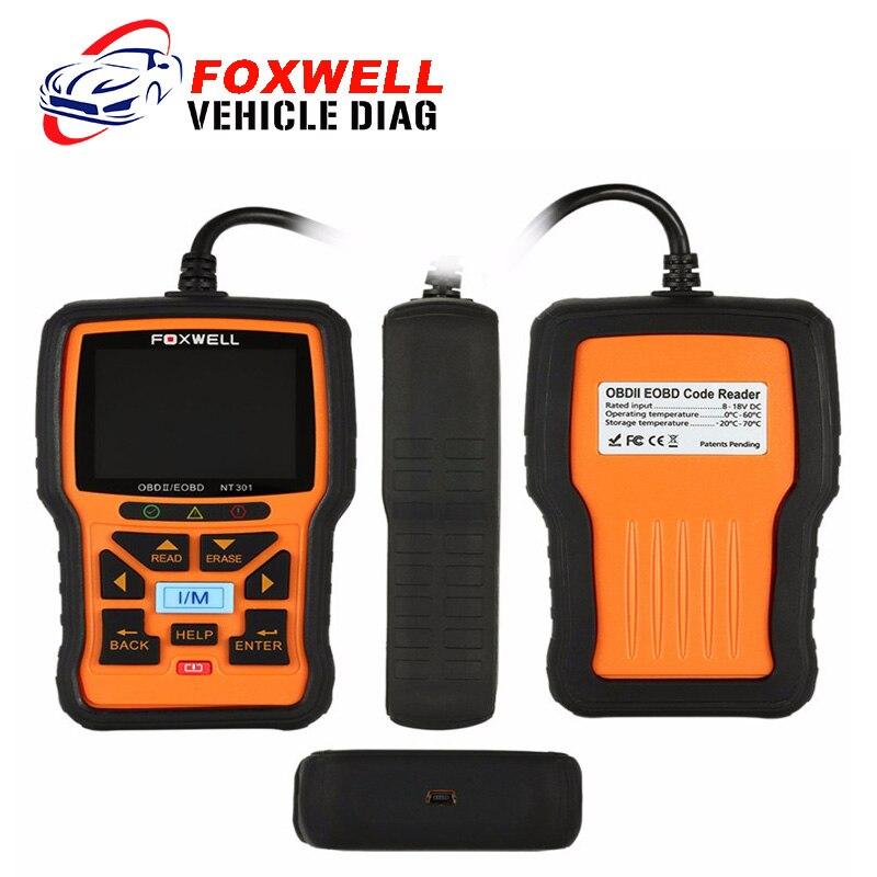 Цена за FOXWELL Оригинальный NT301 OBD2 EOBD CODE Reader NT 301 Авто Код Сканер Обновление Онлайн Мощный Диагностический Инструмент Для Автомобилей Сканер Двигателя