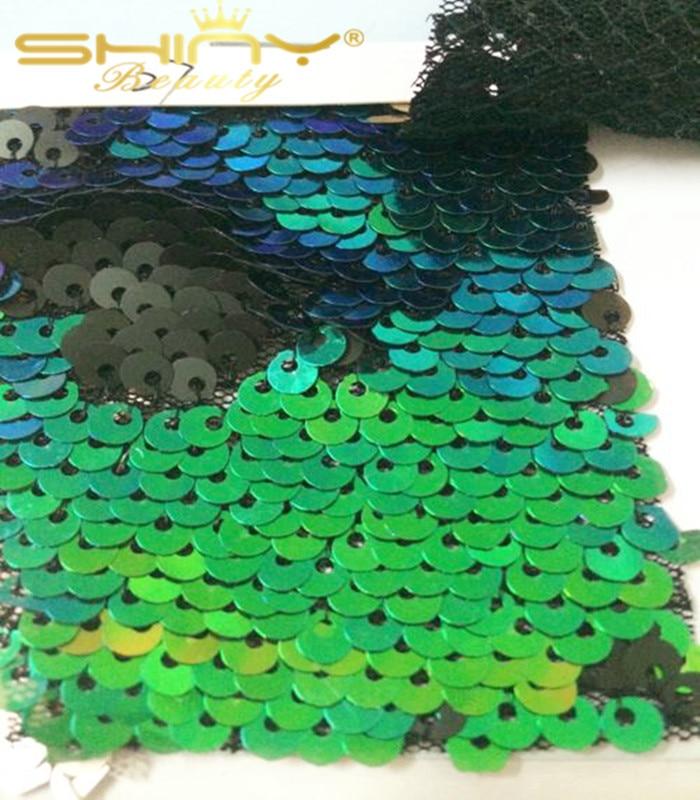 5FTX9FT Vert et Noir Réversible Toile De Fond De Paillettes Rideau, changé Vert Sirène Poissons Échelle Sequin Tissu/Photographie-un