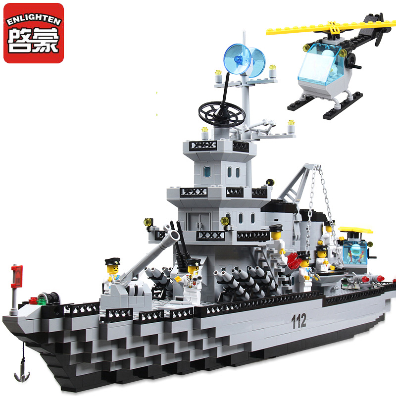Enlighten Building Blocks Military Cruiser Model Building Blocks Girls&Boys 970+pcs Bricks Educational Blocks Toys For Children enlighten building blocks navy frigate ship assembling building blocks military series blocks girls