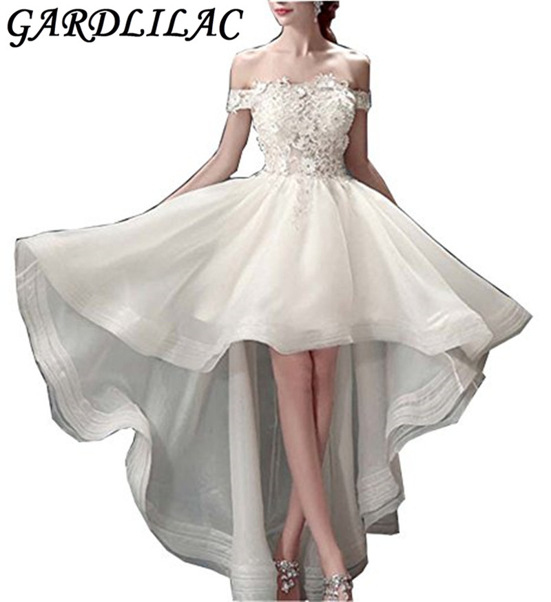 Gardlilac Lace Hi-Low Short Wedding Dress Boat Neck Applique Bridal Dress White Wedding Party Dress robe de mariee 2017