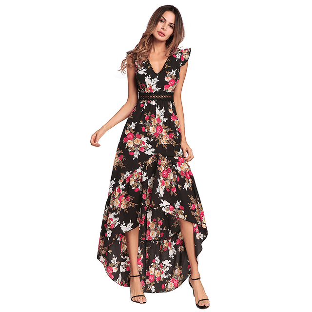5ee86d0fb3088 Women Chiffon Dress Bohemian Floral Print V Neck High Low Asymmetric  Backless High Waist Maxi Dress Gowns Elegant Party Clubwear-in Dresses from  Women's ...