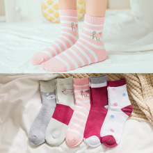 1 Pair New Winter Plus Thickening Sock Women Cartoon Striped Harajuku Warm Comfortable Casual Femme Socks 5 Colors