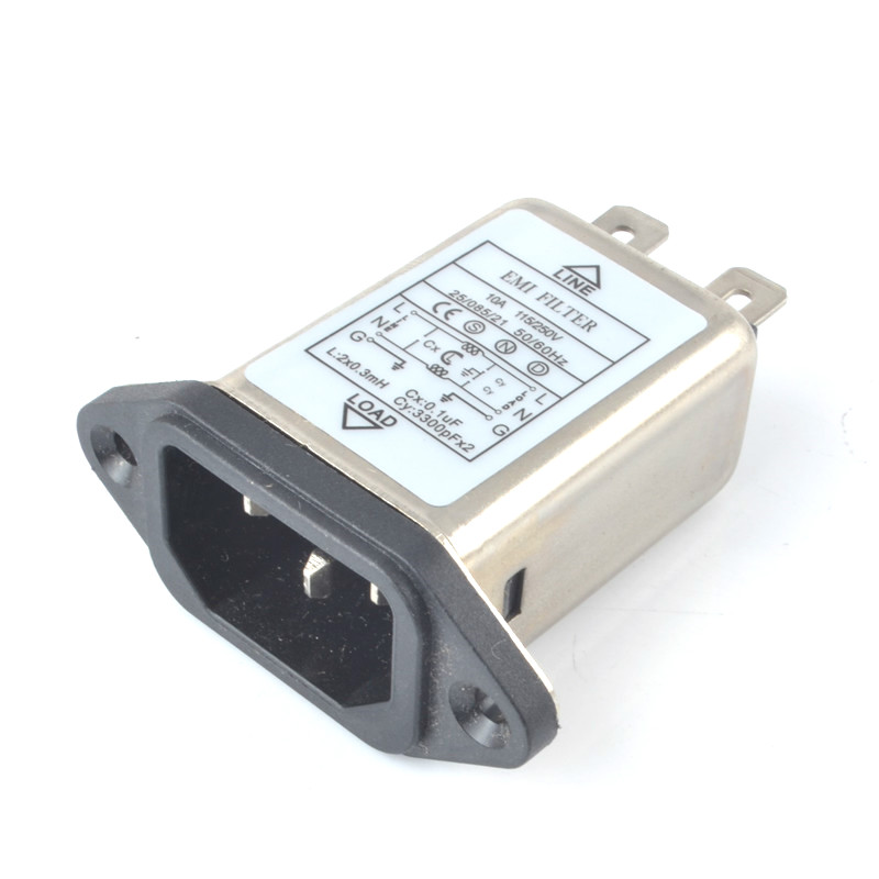 IEC 320 C14 Male Socket Panel Mount Power Line power EMI filter 10A 125/250V BETTER THAN YUNPEN YB10A1 Connector