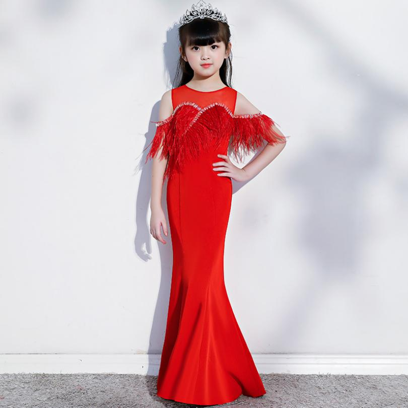Red Long Elegant Girls Dress Summer Tassel Beading Design Party Dresses Children Pageant Sexy Gown Kids Clothes Vestidos Y1111Red Long Elegant Girls Dress Summer Tassel Beading Design Party Dresses Children Pageant Sexy Gown Kids Clothes Vestidos Y1111