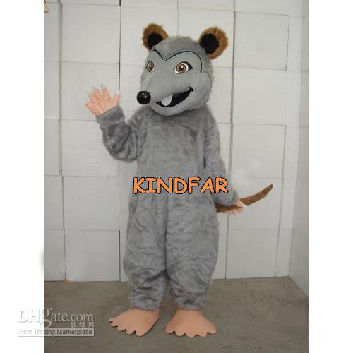 Hot selling 2017 Adult cute Gray long-haired rat Mouse Mascot Costume Halloween Cartoon Party Outfits Fancy Dress