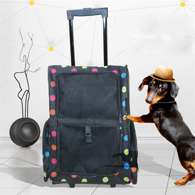 AHUAPET Ventilation Pets Trolley Case Dog Cat Backpack Go Out Portable Dog Travel Bag Pet Travel