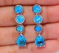 """New ! Elegant & Unique & Wholesale & Retail For Women Jewelry Blue Fire Opal & Blue Zircon Silver Stud Earrings 1 1/4"""" OH3437"""