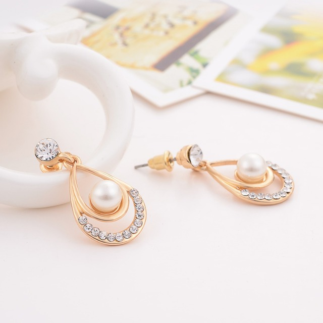 Valentine Day Gifts Gold Color Simulated Pearl Water Drop Crystal Pendant Necklace Earrings Wedding Jewelry Sets For Women 6