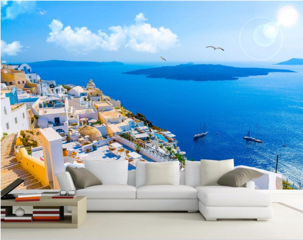 Custom photo designs 3d wall murals wallpaper Mediterranean architectural  landscape decor painting wallpapers for living room-in Wallpapers from Home  ...