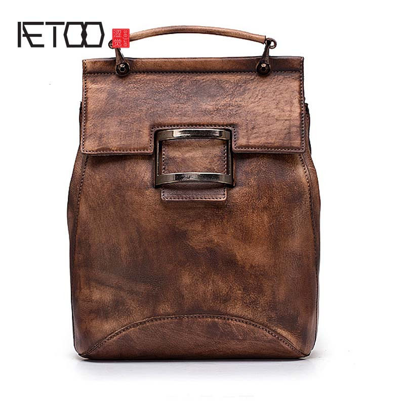 AETOO Women's shoulder bag leather first layer leather casual backpack fashion trend retro hand rub color shoulder bag aetoo leather men bag wild european and american first layer of leather men s shoulder bag trend backpack