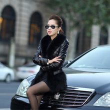 2016 Hot Luxury Women's Faux Fur Coat Leather Outerwear Snowsuit Long Sleeve Jacket Black Fashion Fast Shipping