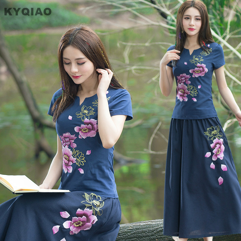 KYQIAO Mexico Style Ethnic Hippie V Neck Dark Blue Rose Red Black White Floral Embroidery T Shirt Tee Plus Size Women Clothing