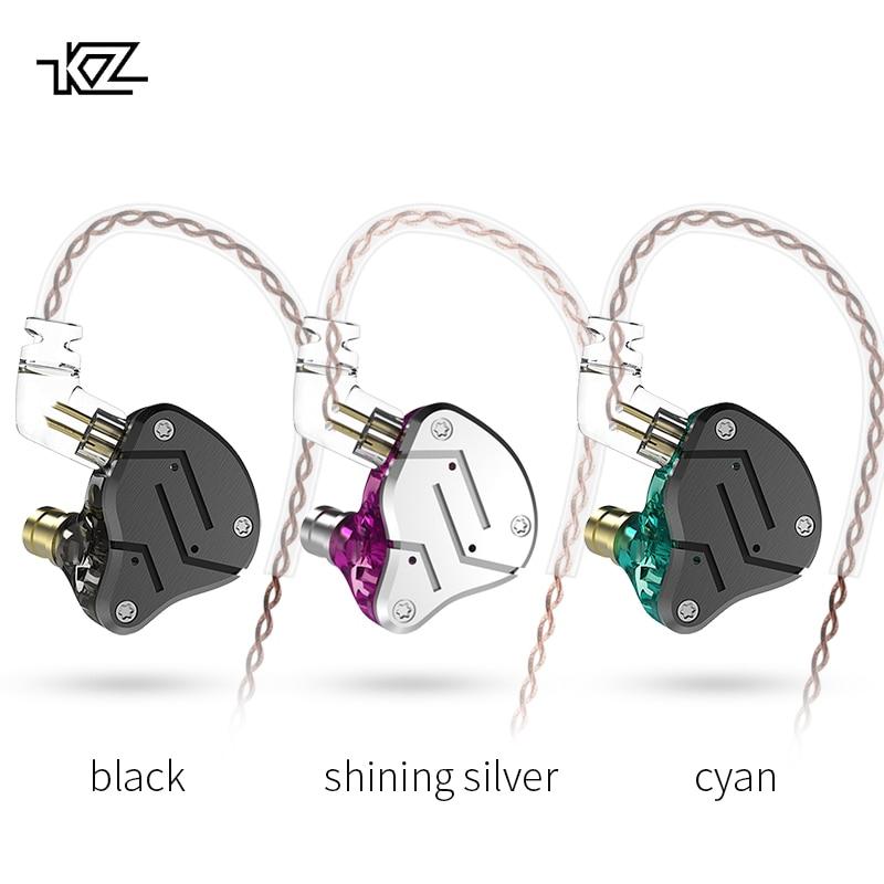 Nuevo KZ ZSN 1DD + 1BA armadura controlador doble auricular desmontable en la oreja de monitores de aislamiento de ruido de música de alta fidelidad de deportes auriculares
