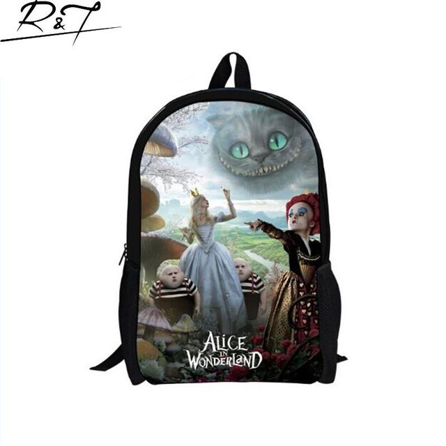New Alice in wonderland children schoolbag for girls,cartoon school bags for teenage girls,fashion character bookbag for boys