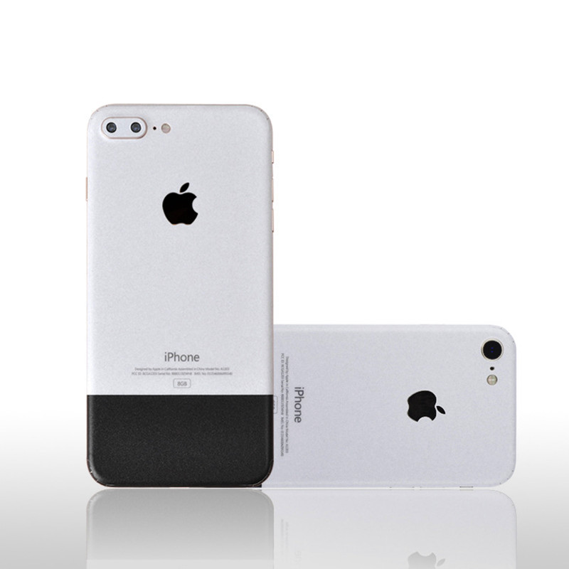 0.25mm White & Black Rear Vinyl Sticker Protector Cover Skin Case for iphone 7/7 Plus/8/8 Plus/X
