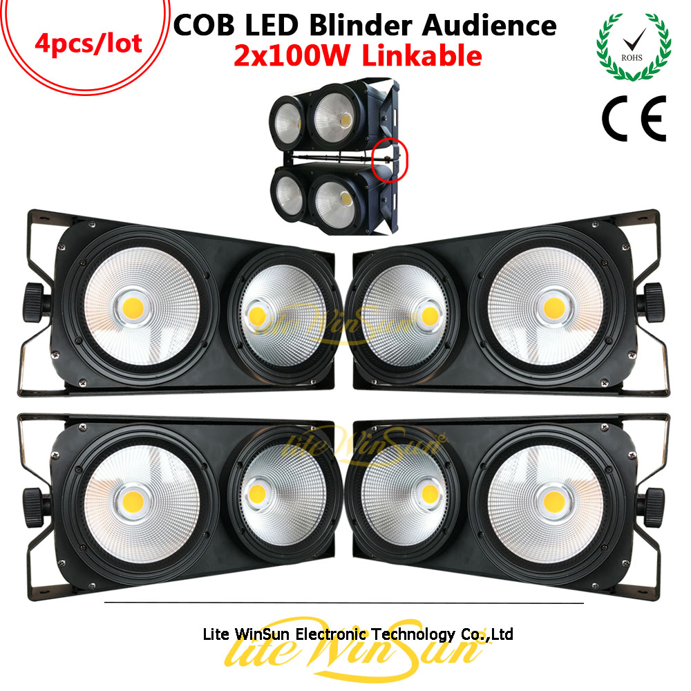 Litewinsune 4PCS 2Eyes 100W COB Blinder 60degree 3200K 5600K Performance LED Stage Lighting DMX Console