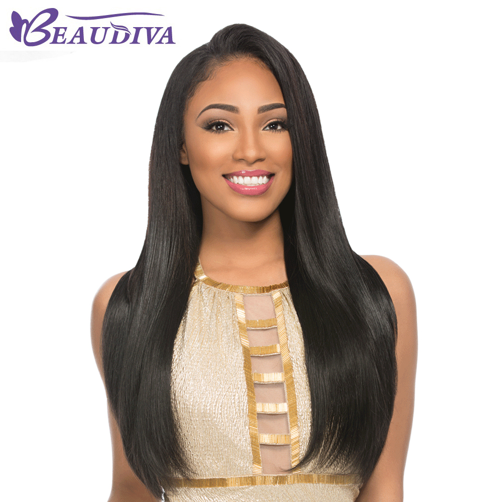 Beaudiva Straight Peruvian Straight Hair High Simulation Human Scalp <font><b>Wigs</b></font> With Baby Hair Natural Color Free Shipping