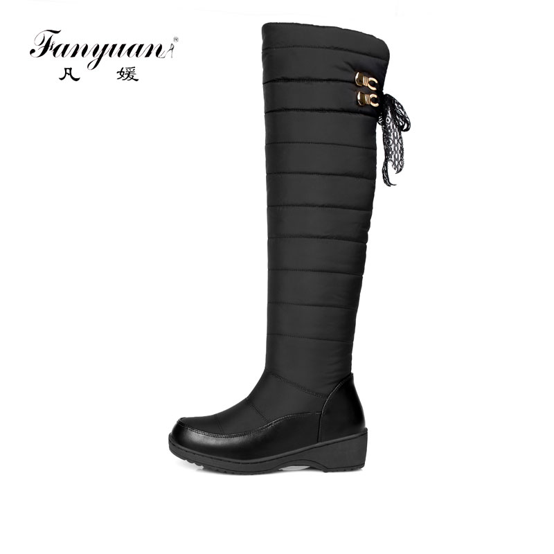 Fanyuan New Womens over the Knee Snow Boots Waterproof Thick Fur Down Warm Winter Boots Platform slip Casual Shoes Big Size 44 women winter coat leisure big yards hooded fur collar jacket thick warm cotton parkas new style female students overcoat ok238