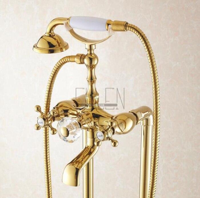 Aliexpress.com : Buy Bathroom Golden Floor Stand Faucet Telephone ...