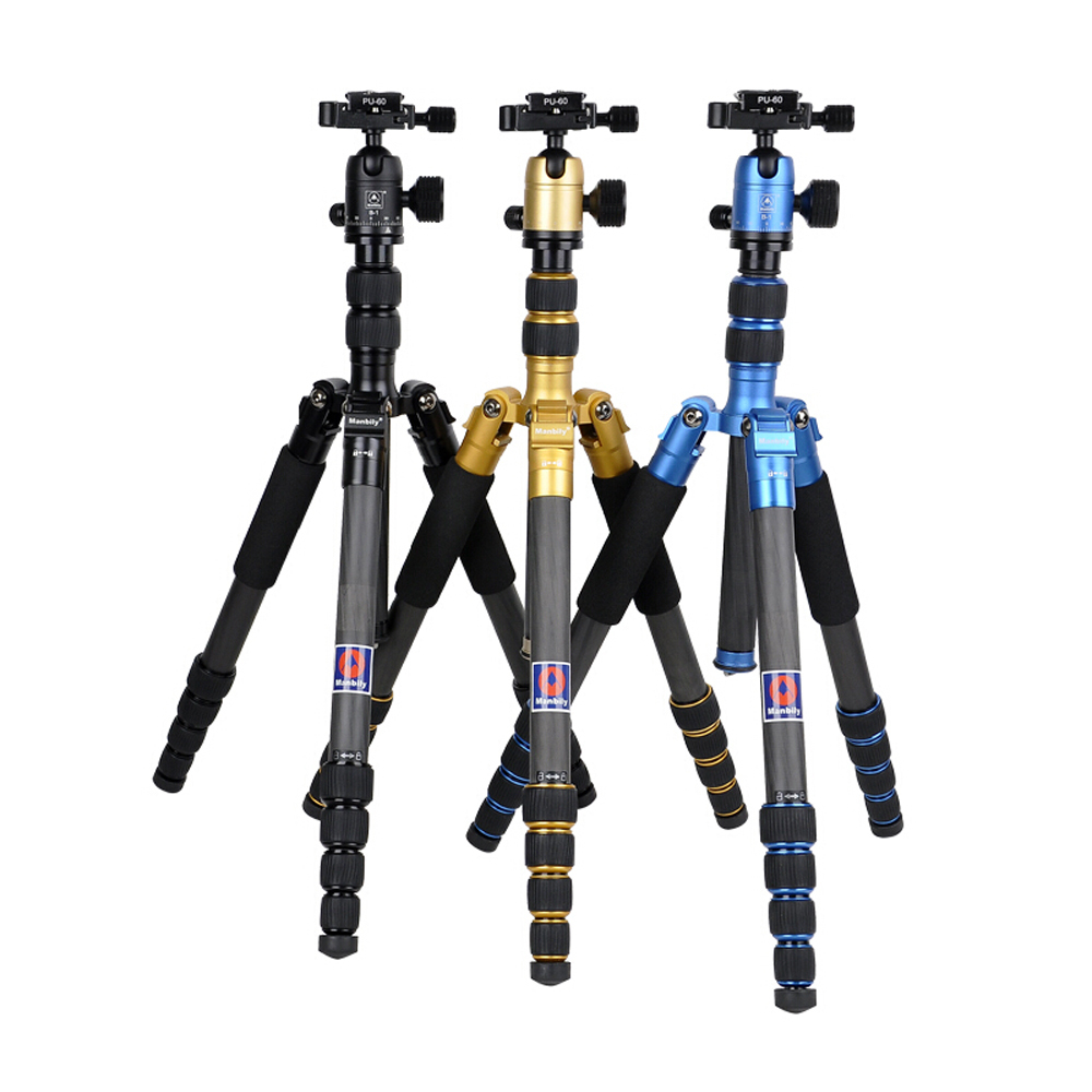 Manbily CZ-305 Professional Carbon Fiber Tripod For Camera Can Changed Monopod+Ball Head 3 Colors Are Optional load 15kg manbily cz 302 5 sections carbon fiber walking stick video monopod tripod with kf 0 ball head for dslr camera