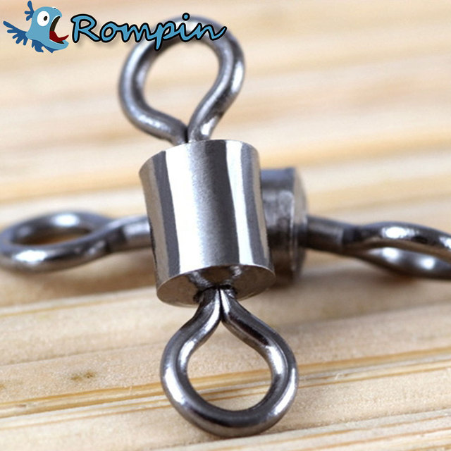 Rompin 50PCS Shape Stainless Steel Ball Bearing Fishing Rolling Swivels Solid Rings Connector Lures Fishing Tackle