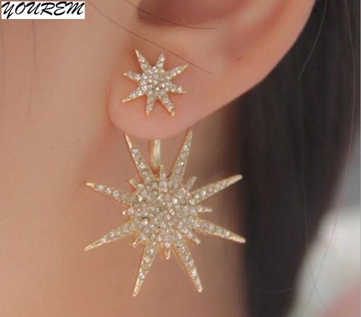 YOUREM one pair ethnic jewelry golden earring full drill rhinestone luxury six stars punk stud Earrings for women alloy fj480 ...