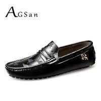AGSan hombre italiano de los holgazanes de cuero genuino mocasines negro blanco tallas grandes 49 48 47 de los hombres de conducción zapatos planos hechos a mano 12 11.5 11