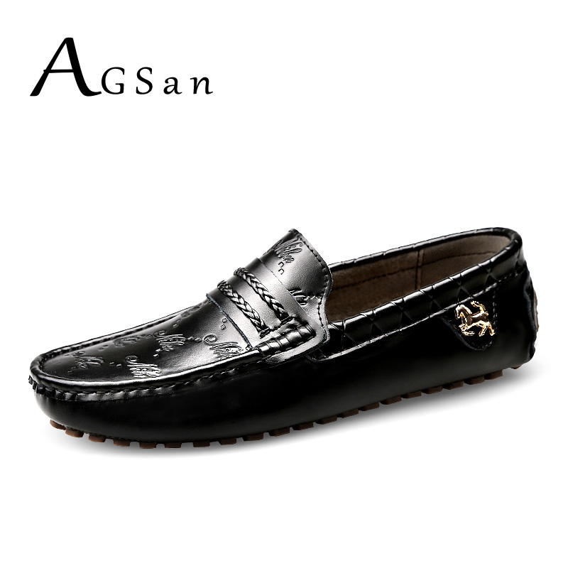 AGSan men italian loafers genuine leather moccasins black white plus size 49 48 47 men driving shoes handmade flats 12 11.5 11