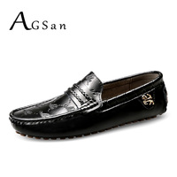 AGSan Men Loafers Genuine Leather Moccasins Slip On Shoes Plus Size 37 49 Male Driving Shoes