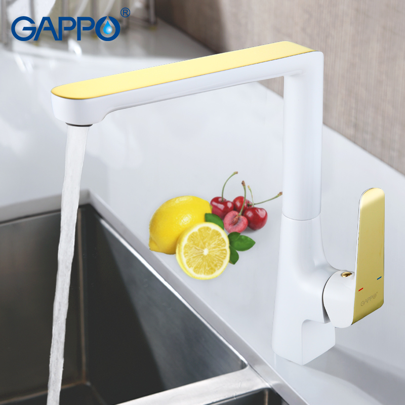 GAPPO 1set High quality brass kitchen sink faucet tap mixer Gold white kitchen water mixer faucet taps cold and hot water G4080  free shipping white paint kitchen faucet with solid brass kitchen sink faucet and hot cold kitchen sink water mixer taps